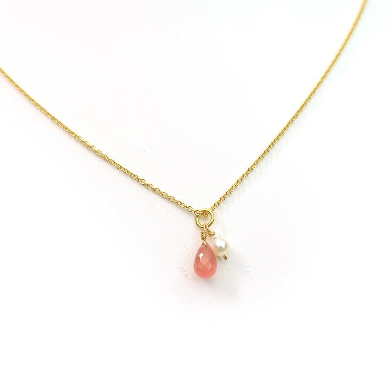 インカローズと本真珠のネックレス
