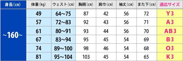 モーニングサイズ表