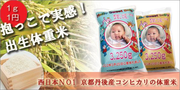 抱っこできる出生体重米 西日本NO1のコシヒカリで