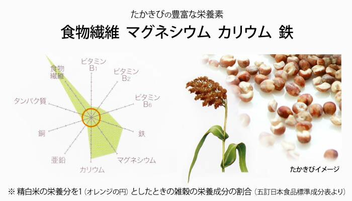 雑穀の栄養価グラフ