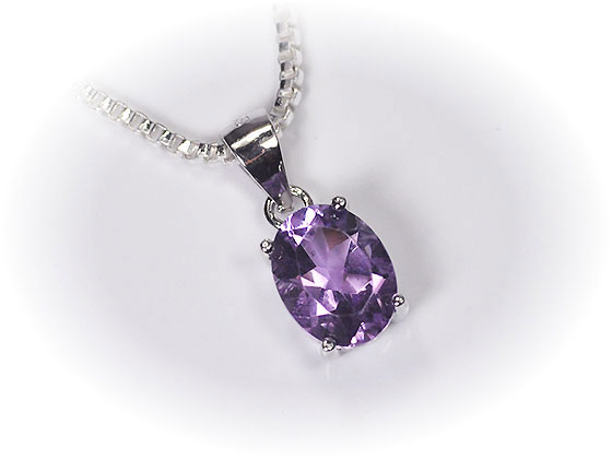 Amethyst ♪ Oval pendant top of silver 925 X 1 7ct ※It is with a service  chain (silver 925 venetian chain)