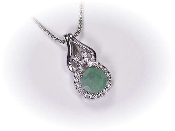 Silver 925* nature emerald X high-quality CZ ♪ classical elegance pendant  top ※It is with a service chain (silver 925 venetian chain)