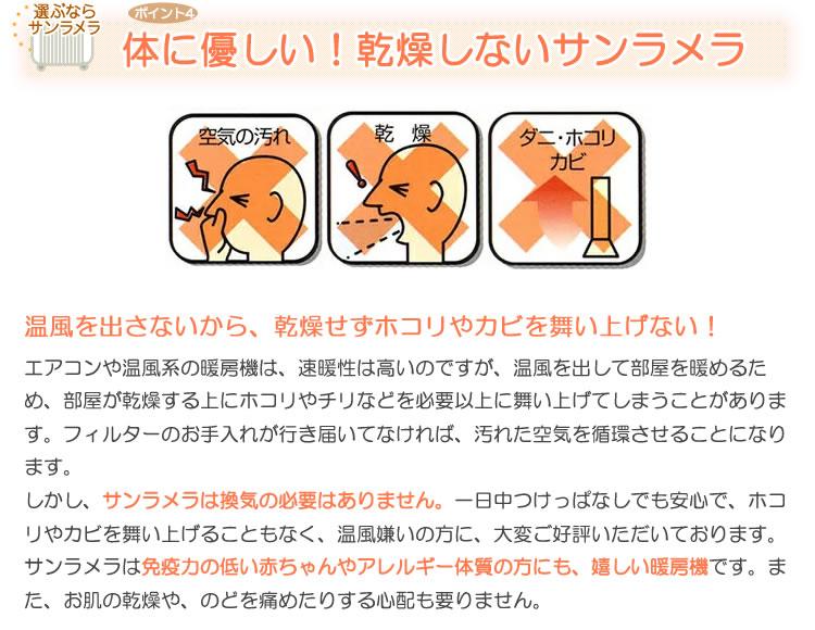 遠赤外線セラミックヒーター「サンラメラ」の特徴