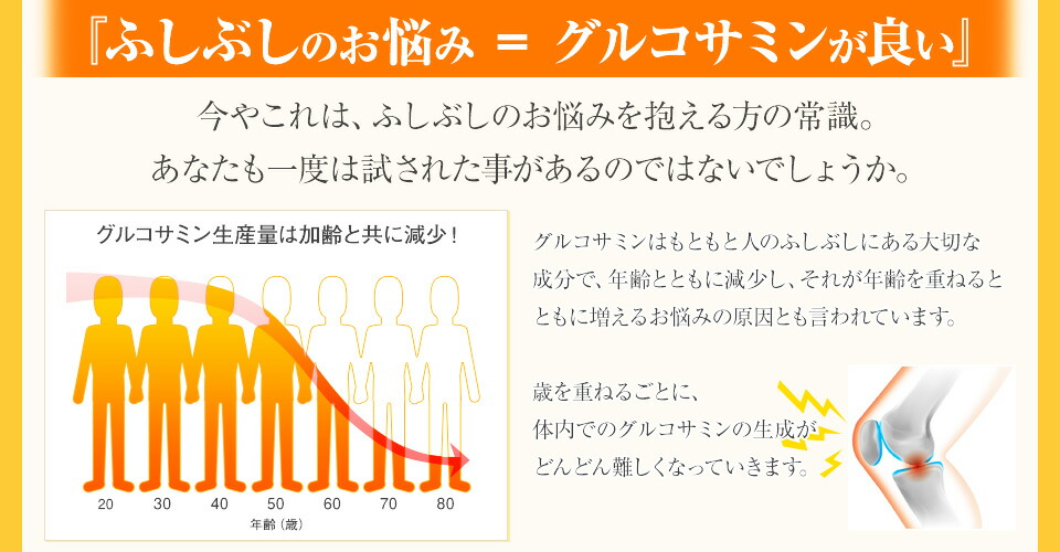 ふしぶしのお悩み=グルコサミンが良い グルコサミン生産量は加齢と共に減少!