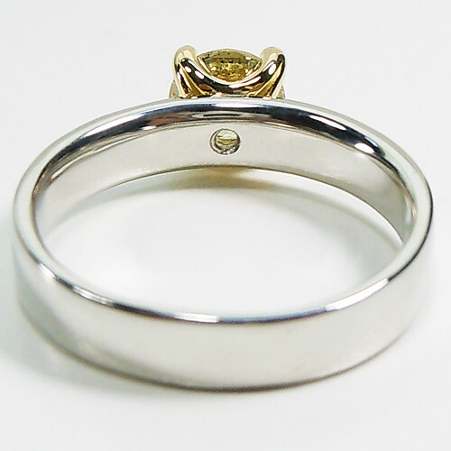 [speed 配] platinum / yellow gold (Pt900/K18) yellow diamond ring (wide /  one / more than horse 0 9ct) *