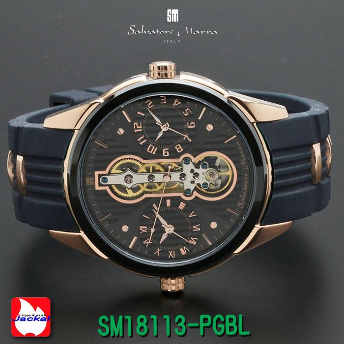 腕時計メンズ 【Salvatore Marra】サルバトーレマーラ ツイン(デュアル)クォーツ ラバー×ステンレスベルト SM18113-PGBL画像2
