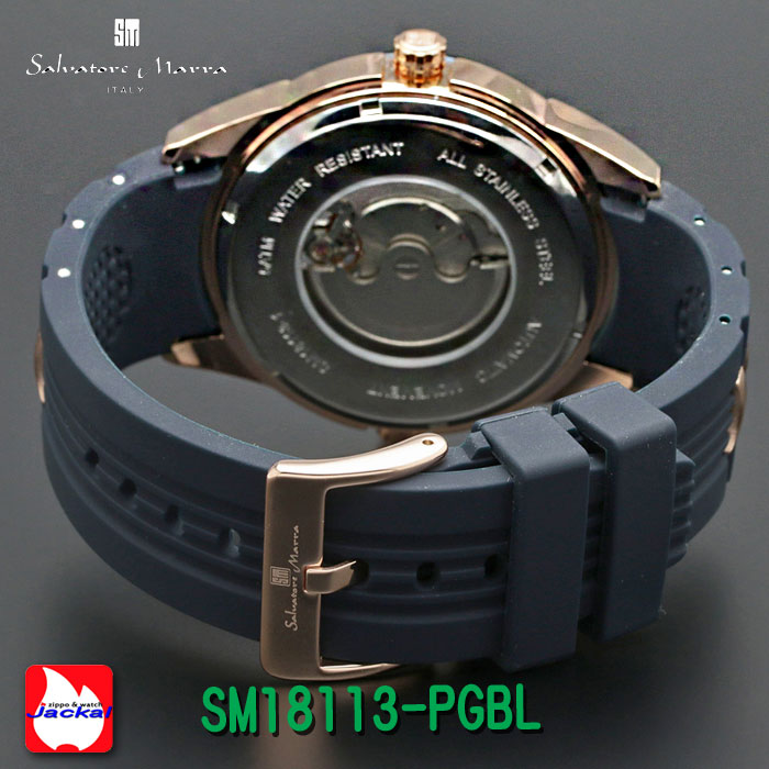 腕時計メンズ 【Salvatore Marra】サルバトーレマーラ ツイン(デュアル)クォーツ ラバー×ステンレスベルト SM18113-PGBL画像3