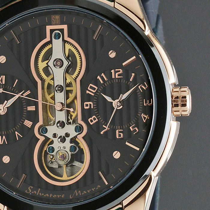 腕時計メンズ 【Salvatore Marra】サルバトーレマーラ ツイン(デュアル)クォーツ ラバー×ステンレスベルト SM18113-PGBL画像5