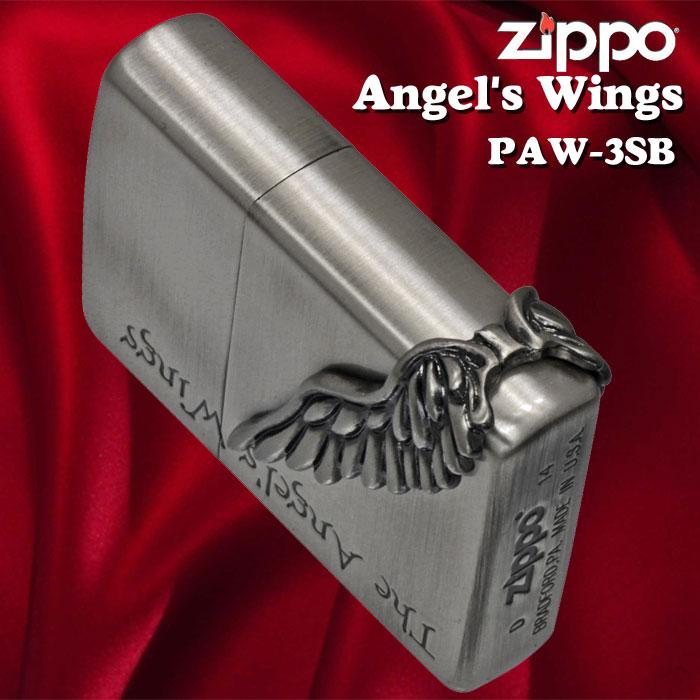 zippo(ジッポーライター)エンジェルウイング サイドメタル 天使の翼 シルバー古美 PAW-3SB 画像2