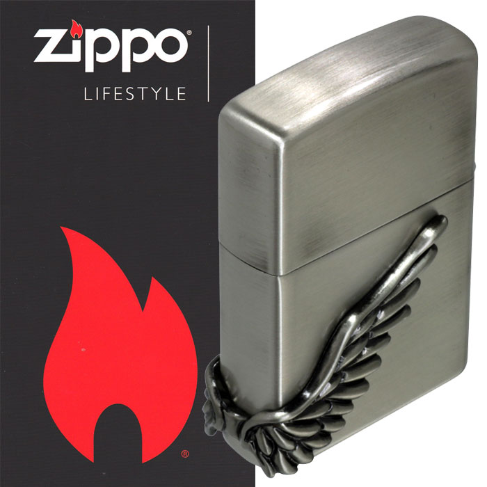 zippo(ジッポーライター)エンジェルウイング サイドメタル 天使の翼 シルバー古美 PAW-3SB 画像5
