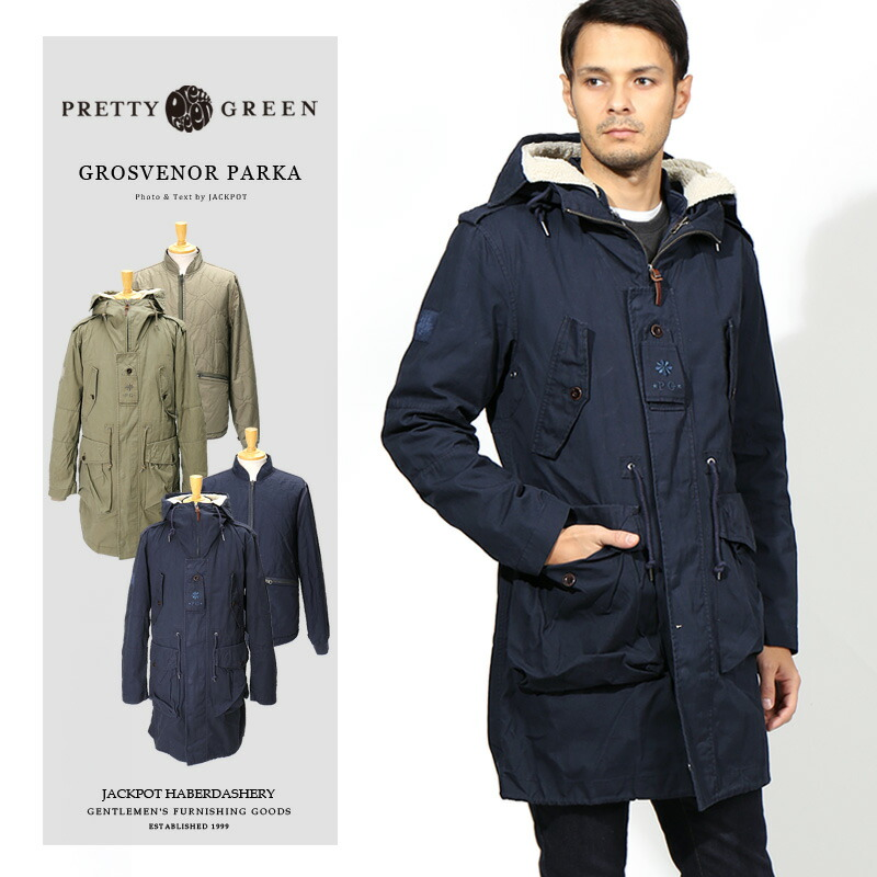 *送料込* Pretty Green Grosvenor Parka Jacket In Navy