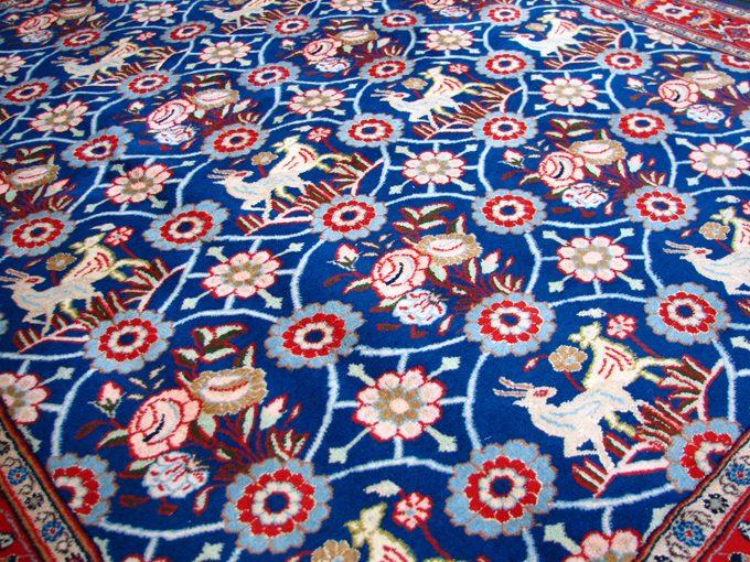 【ペルシャ絨毯・カーペット】★手織りイラン/クム産絨毯★サイズ:185cmx152cm 【大特価品】【送料無料】【smtb-k】