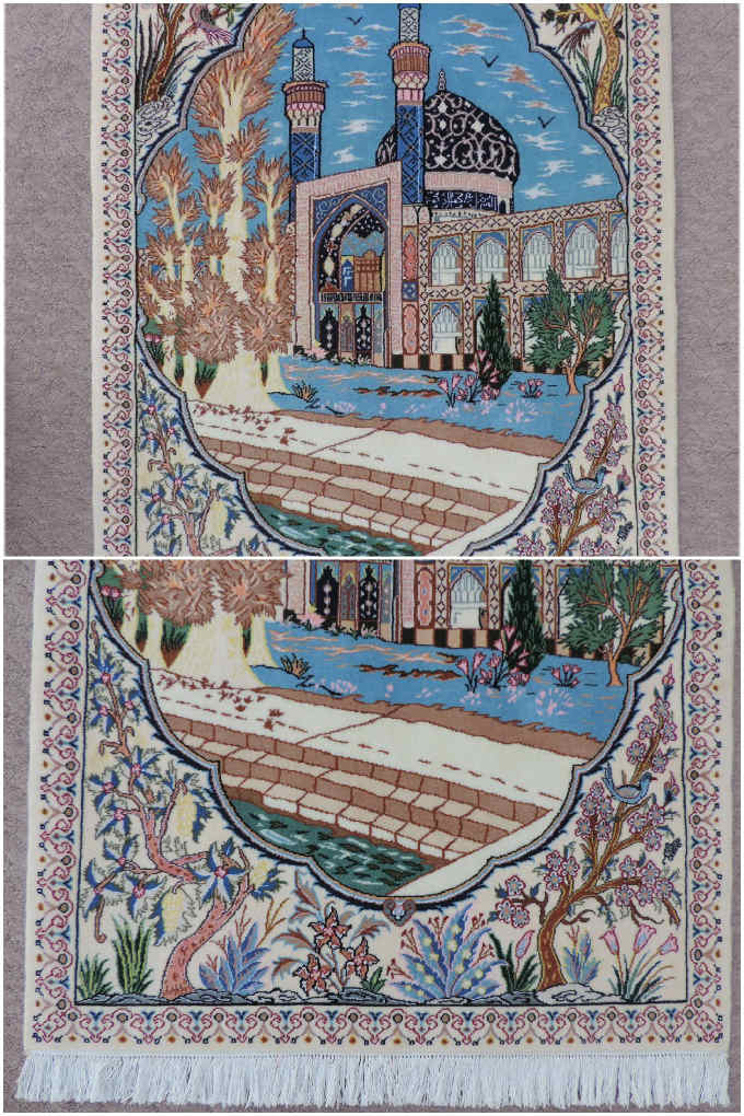 ペルシャ絨毯 カーペット ウール&シルク 手織り高級 ペルシャ絨毯の本場 イラン ナイン産 玄関マットサイズ 114cm×75cm【本物保証】