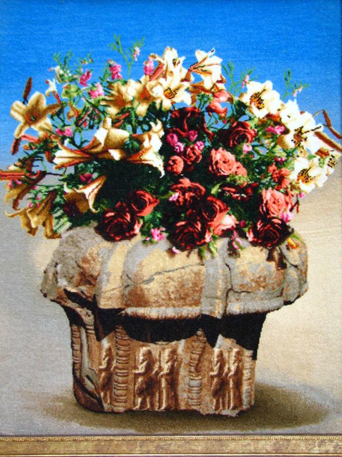 【額入りペルシャ絨毯】 【芸術品】 コルク&シルク 手織り ペルシャ絨毯 イラン タブリーズ産 花 flower (額付) 【送料無料】