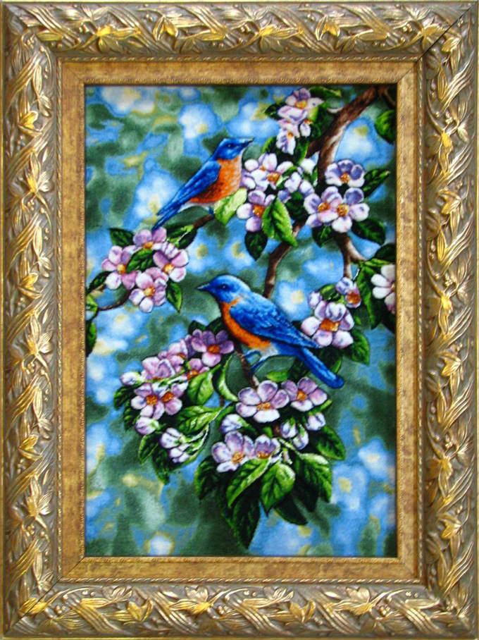 【額入りペルシャ絨毯】 【芸術品】 コルク&シルク 手織り ペルシャ絨毯 イラン タブリーズ産 花 鳥 (額付) 【送料無料】