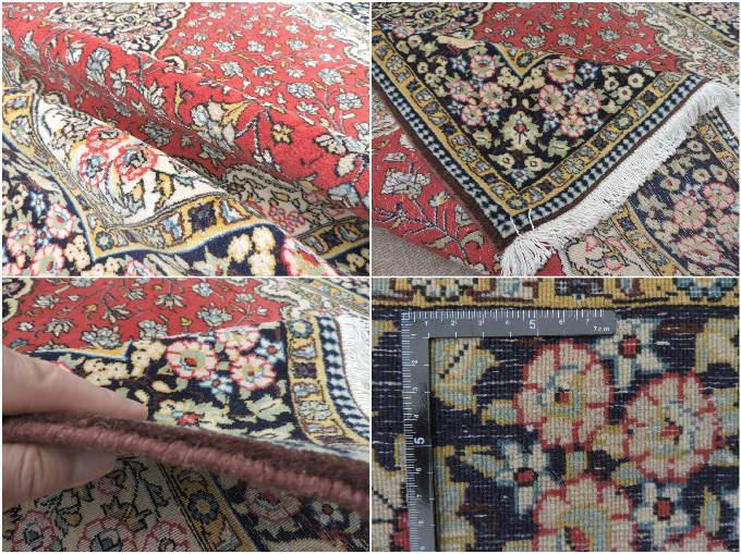 ペルシャ絨毯・カーペット ウール&シルク 手織り ペルシャ絨毯の本場(イラン イスファハン産) 中型サイズ:218cm×138cm【本物保証】