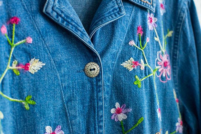 花柄 刺繍 デニムジャケット