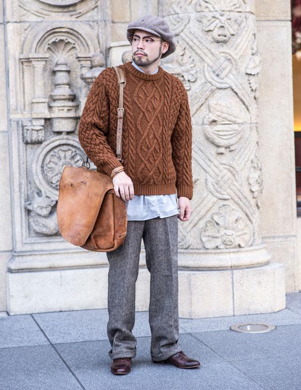古着 セーター スタイル メンズコーディネート