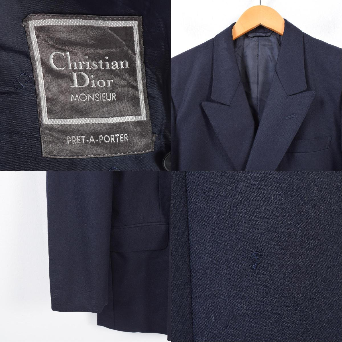 best cheap 9eaa0 78a57 クリスチャンディオール Christian Dior MONSIEUR ダブルブレスト ピークドラペル テーラードジャケット レディースM  /waj3536 【171113】