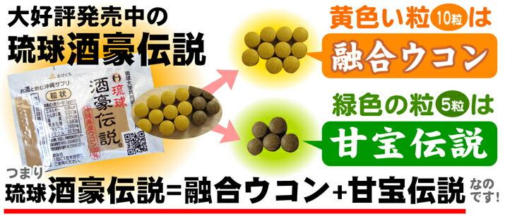 琉球酒豪伝説は、沖縄県産のウコンとハーブを配合