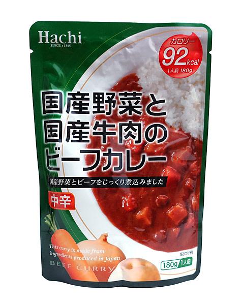 ハチ 国産野菜と国産牛肉のビーフカレー中辛180g【イージャパンモール】