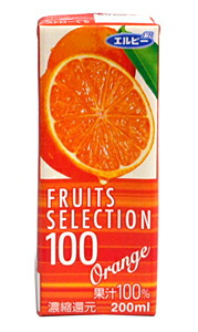 ★まとめ買い★ エルビーフルーツセレクション 100% オレンジ200ML ×24個【イージャパンモール】