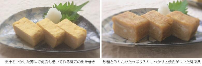 関西風玉子焼き出汁巻き玉子と関東風の玉子焼き