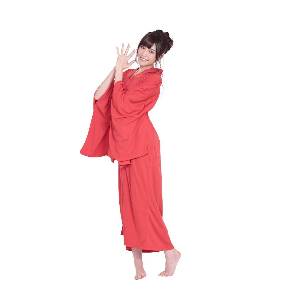 Wear kimono costume play undergarment red downright undergarment and belt  and string in the body, and is feminine