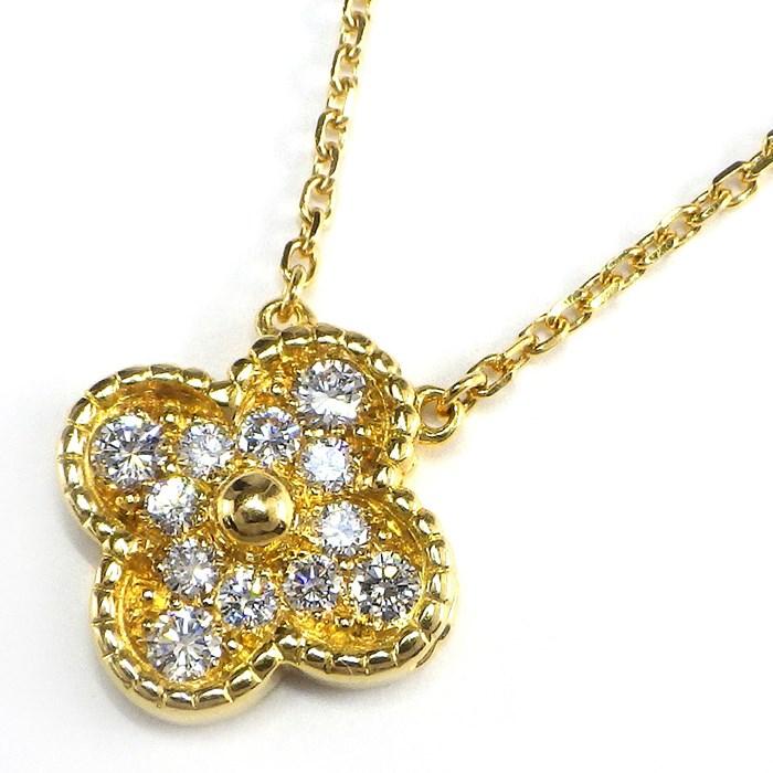 ヴァンクリーフ&アーペル ネックレス ヴィンテージアルハンブラ K18YG ダイヤモンド 【中古】 611,600円 送料無料