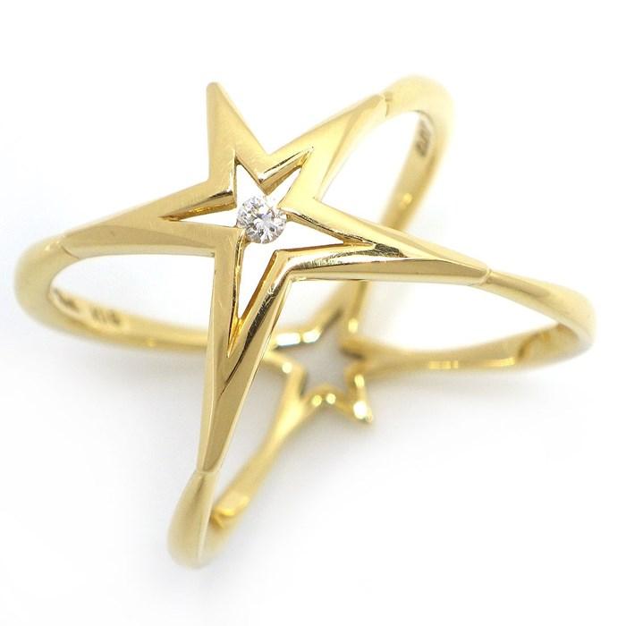 スタージュエリー リング スター モチーフ K18YG ダイヤモンド 0.02ct 11.5号【中古】 39,800円 送料無料