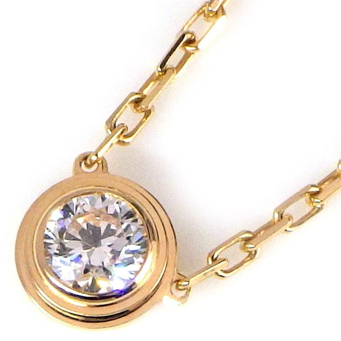 カルティエ ネックレス ディアマンレジェドゥ LM K18PG 1ポイント ダイヤモンド 【中古】 166,000円 送料無料