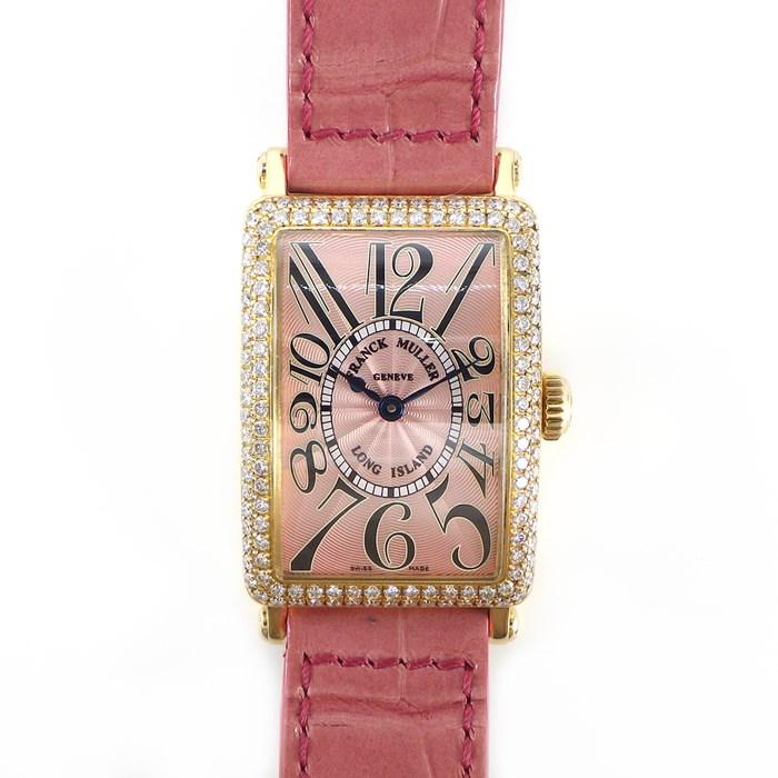 【ポイント3倍クーポンで3%OFF】 フランクミュラー 腕時計 ロングアイランド 900QZD ダイヤベゼル ダイヤ尾錠 K18YG クロコレザー ダイヤモンド 【中古】 898,000円 送料無料