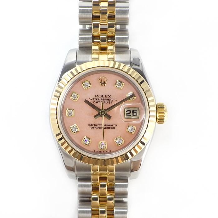 【ポイント3倍クーポンで3%OFF】 ロレックス 腕時計 デイトジャスト 179173OPG ピンクオパール文字盤 10ポイント ダイヤモンド M番 ルーレット刻印 K18YG ステンレススチール 【中古】 758,000円 送料無料
