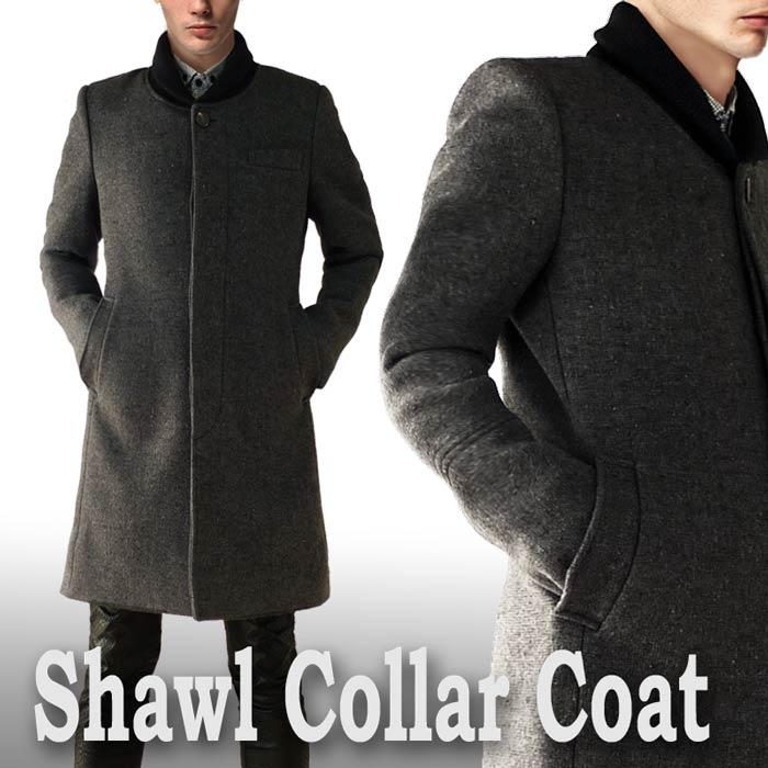 ウールコート ヘチマ襟 メンズ グレー ロングコート メンズ(ロング丈 ウール コート ツイード 冬 細身