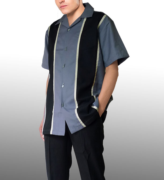 開襟シャツ 半袖 メンズ ボーリングシャツ rumble59 サックスブルー ボウリングシ...