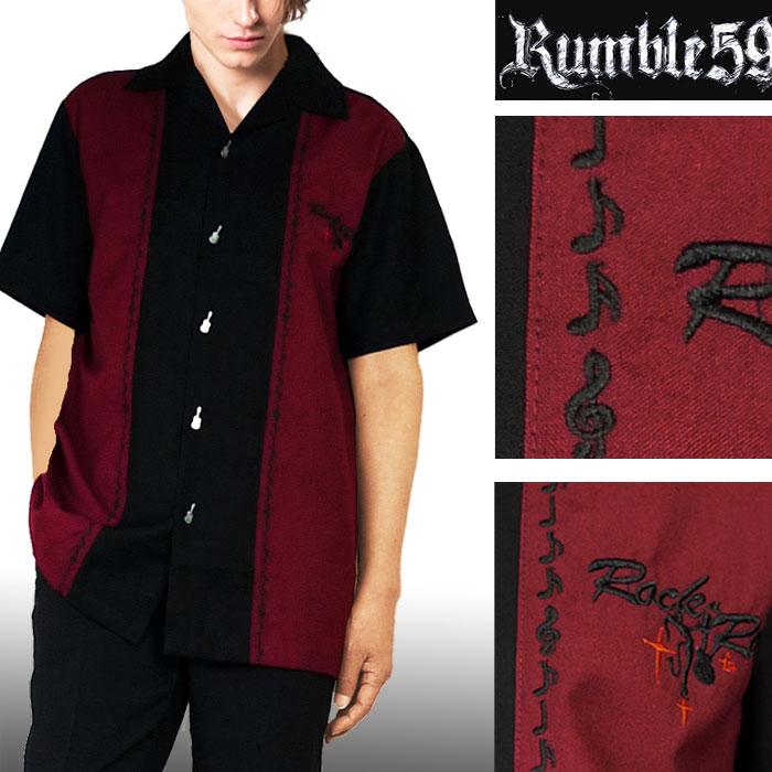 ボウリングシャツ(ボーリングシャツ)開襟シャツ 半袖 音符刺繍 レッド オープンカ...