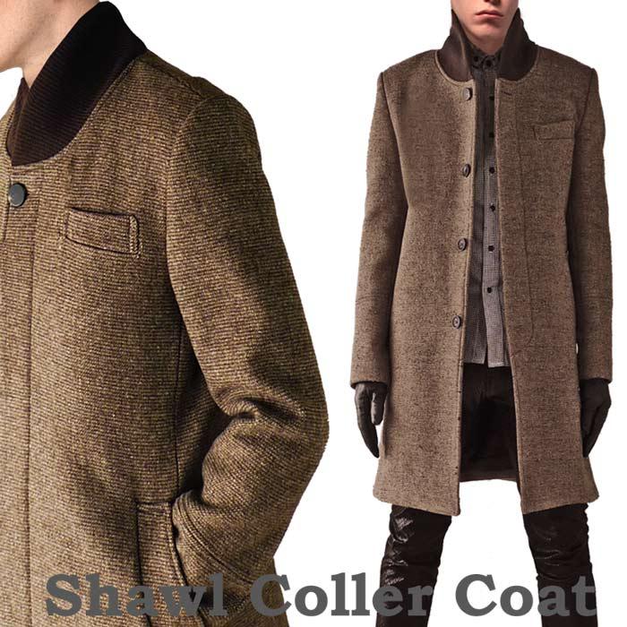 ウールコート ヘチマ襟 ブラウン ロングコート メンズ (ロング丈 ウール コート ツ...