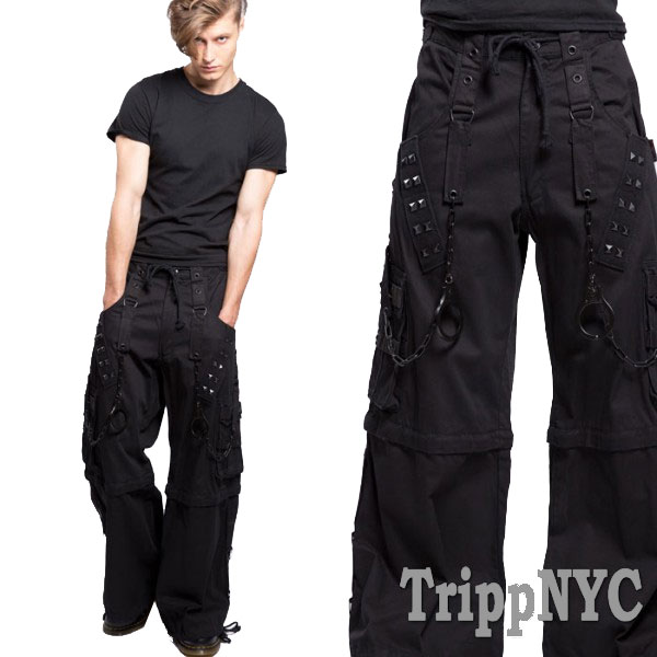 Tripp NYC(トリップニューヨーク)超ワイド スタッズ ボンテージパンツ 手錠 チェ...