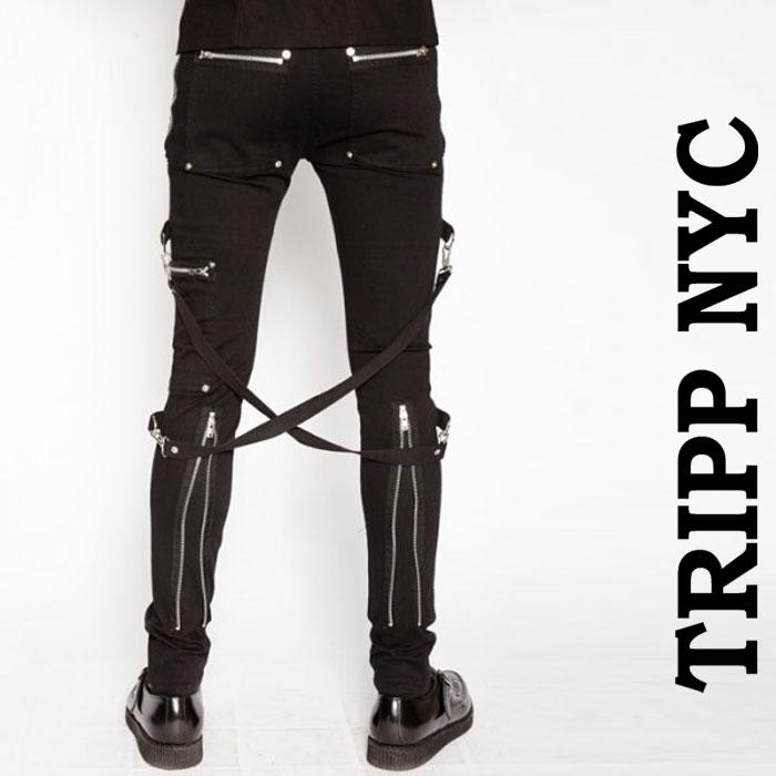 ボンテージパンツ TRIPP NYC ブラック パンク パンツ ボンデージパンツ ジップ カ...