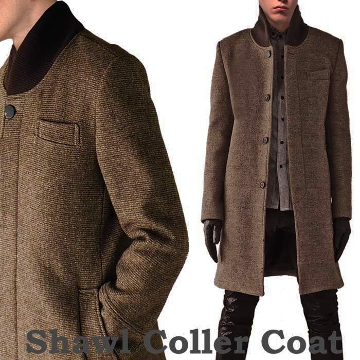 ロングコート メンズ ウールコート ヘチマ襟 ブラウン ロング丈 ウール コート ツ...
