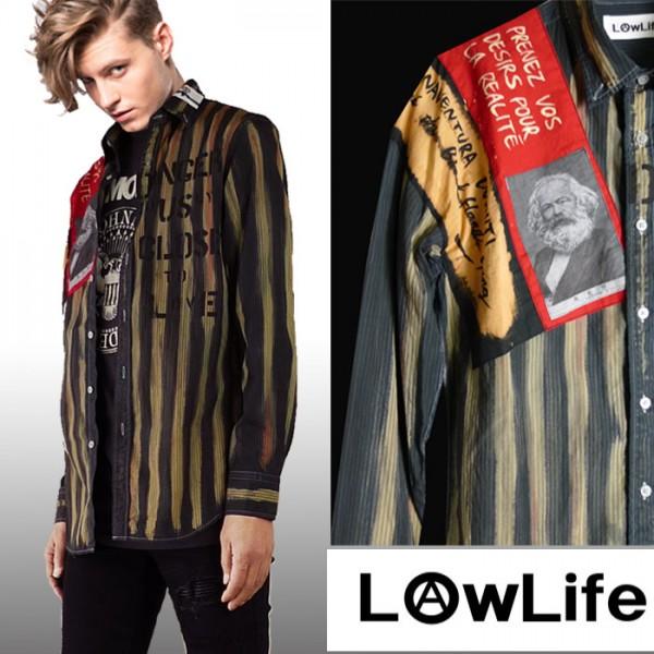 LOW LIFE(ローライフ)アナーキーシャツ グレー ハンドメイド シャツ 長袖 トップス...