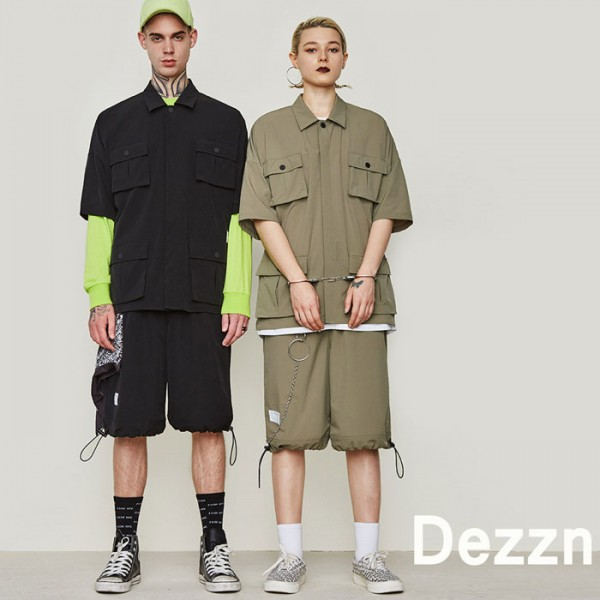 ミリタリーシャツ Dezzn(ディズーン)ワークシャツ 半袖 オーバーサイズ ユニセッ...