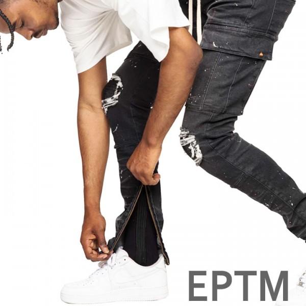 EPTM エピトミ バイカージーンズ クラッシュジーンズ バイカーカーゴ バイカーデニ...