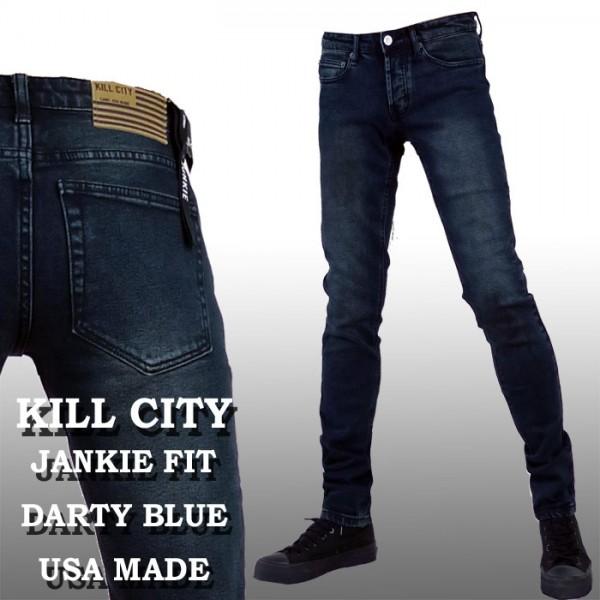 スキニーデニム KILL CITY(キルシティー)ダーク ブルー スキニー ジーンズ/パンク...