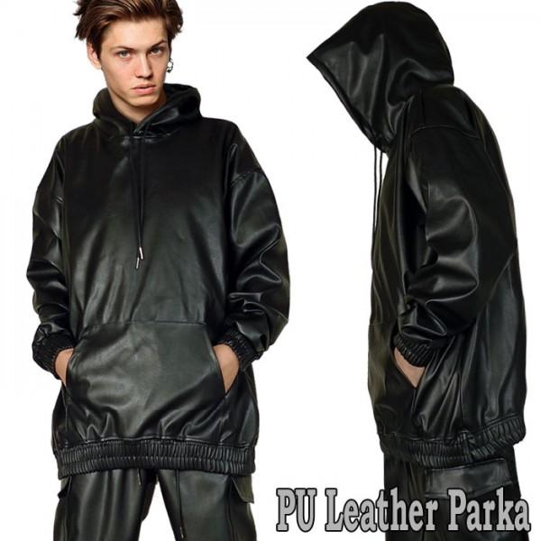 フェイクレザー パーカー 無地 ロック パンク ファッション 黒 ブラック ロックフ...