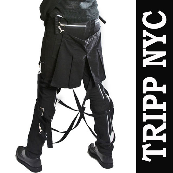 ボンテージパンツ フラップ付き TRIPP NYC (トリップニューヨーク)黒 zip スキニー...