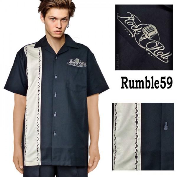 ボウリングシャツ(ボーリングシャツ)開襟シャツ 半袖 音符刺繍 ホワイト オープン...