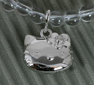 Silver diamond Kitty rose quartz necklace