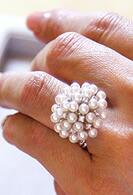 K10WG アコヤベビーパール & ダイヤモンドリング