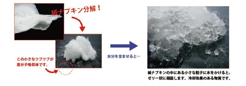 写真:紙ナプキン分解、水分を膨らませるとゼリー状に凝固する